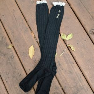 lace and button detail black knee high socks